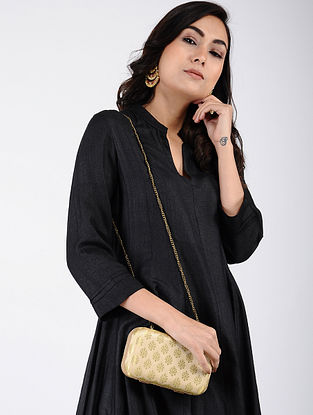 Beige-Golden Handcrafted Silk Clutch