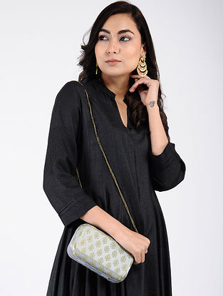Grey-Golden Handcrafted Silk Clutch
