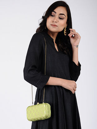 Green-Golden Handcrafted Silk Clutch