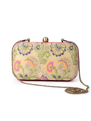 Beige-Multicolored Handcrafted Cotton and Silk Clutch