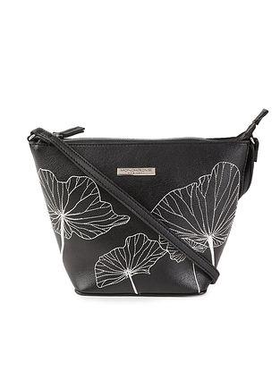 Black Embroidered Leather Sling Bag