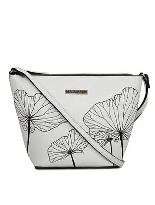 White Embroidered Leather Sling Bag