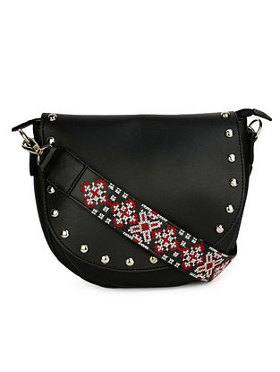 Black Red Embroidered Leather Sling Bag with Studs