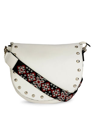 White Black Embroidered Leather Sling Bag with Studs