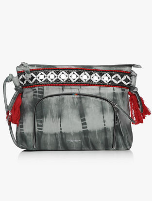 Grey Embroidered Tie & Dye Sling Bag with Mirrors and Tassels