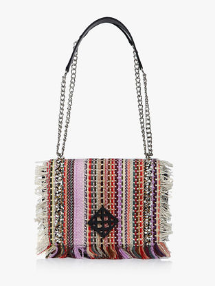Multicolored Handcrafted Cotton Jacquard Leather Sling Bag