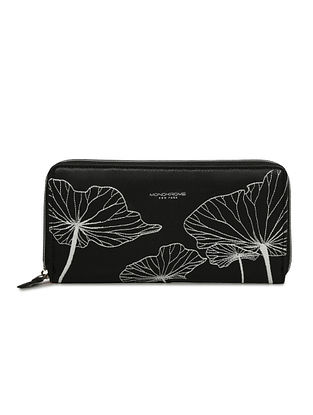 Black Handcrafted Embroidered Leather Wallet