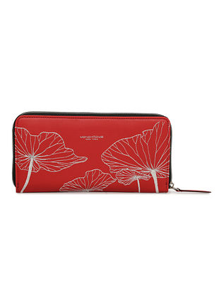 Red Handcrafted Embroidered Leather Wallet
