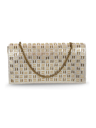 Dull Golden Handcrafted Faux Leather Clutch