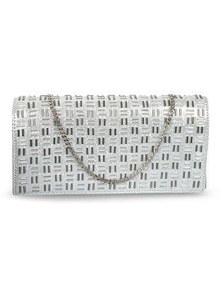 Silver Handcrafted Faux Leather Clutch