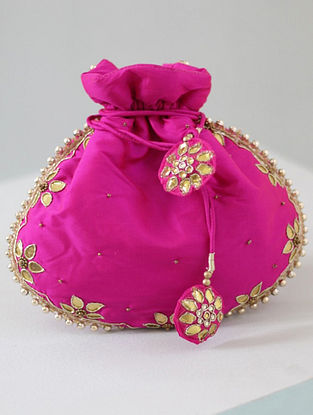 Fuschia Hand-embroidered Silk Potli