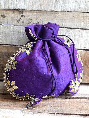 Purple Hand-embroidered Silk Potli