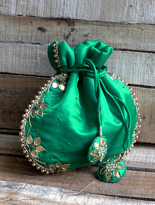 Green Hand-embroidered Silk Potli