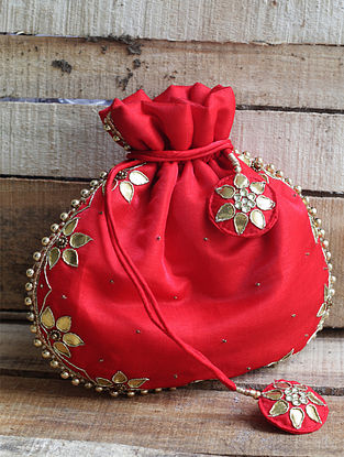 Red Hand-embroidered Silk Potli