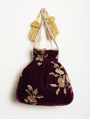 Maroon Embroidered Velvet Potli