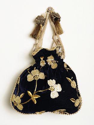 Navy Blue Embroidered Velvet Potli