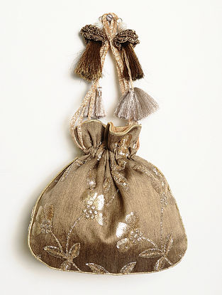 Taupe Embroidered Silk Potli