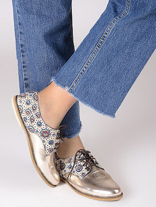 Rose Gold-Indigo Ajrakh-printed Cotton and Leather Oxford Shoes
