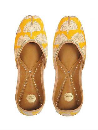 Yellow Block-printed Hand-stitched Cotton and Leather Juttis