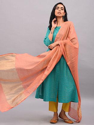 Pink Silk Cotton Dupatta with Zari Border