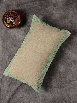 Brown Handloom Linen Cushion Cover with Green Lace Border (20in x 12in)