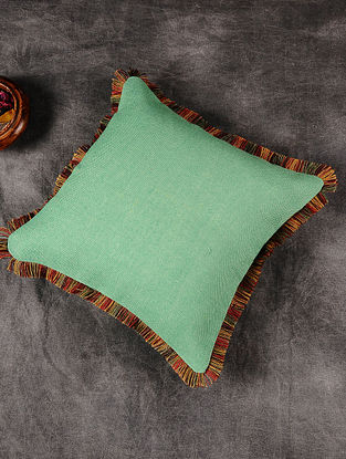Green Handloom Jute Cushion Cover with Multicoloured Jute Border (16in x 16in)