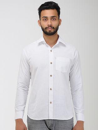 White Khadi Cotton Full Sleeve Shirt