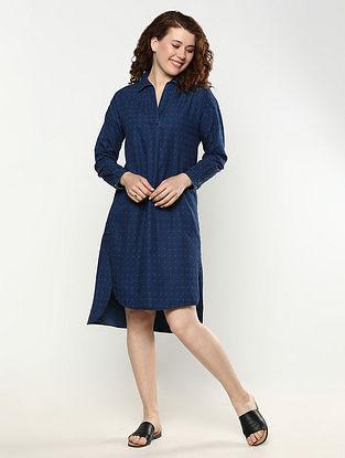 Indigo Cotton Shirt Dress