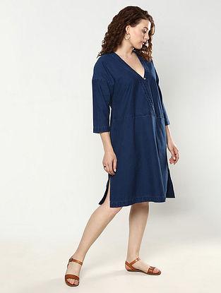 Indigo Cotton Denim Wrap Dress