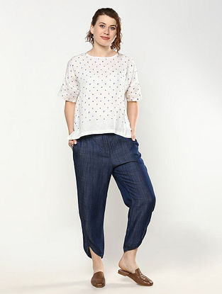 Ivory Printed Linen Top