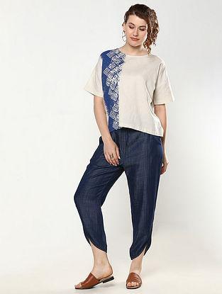 Ecru Printed Linen Cotton Crop Top