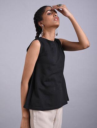 Black Cotton Linen Top
