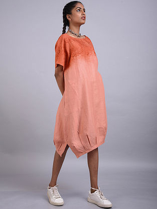 Peach Printed Linen Dress