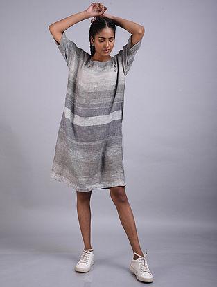 Grey Striped Linen Dress