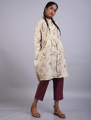 Oatmeal Printed Linen Cotton Dress
