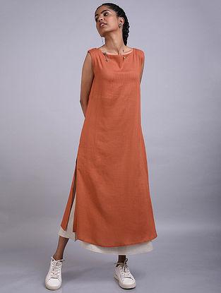 Rust Layered Rayon Linen Dress