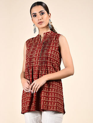 Red Block Printed Cotton Top