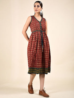 Red Block Printed Cotton Dress