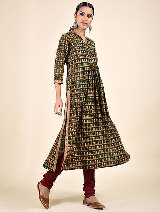 Green Block Printed Cotton Kurta with Sequins