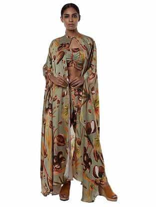 Mint Printed Satin Top with Dhoti Pants and Cape (Set of 2)