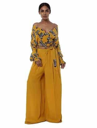Yellow Printed Crepe Top with Palazzos (Set of 2)