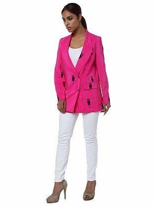 Pink Printed Crepe Blazer