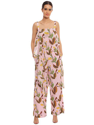 Pink Spicy Jackfruit Assymetrical Top with Pink Spicy Jackfruit Pant (Set of 2)