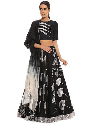Black Egyptian Fan Multiprint Embroidered Lehenga with Blouse and Dupatta (Set of 3)
