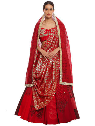 Scarlet Gradation Multiprint Embroidered Lehenga with Blouse and Dupatta (Set of 3)