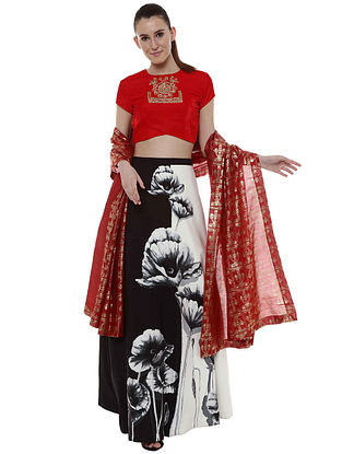 Charcoal Flower Half and Half Lehenga with Blouse and Dupatta (Set of 3)