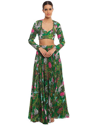 Basil Unicorn Meadow Lehenga with Shrug and Bustier (Set of 3)
