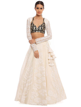 Pearl Multiprinted Lehenga with Black Blooming Garden Bustier and Shrug (Set of 3)