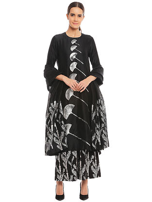 b0b8fe080e Black Egyptian Fan Kurta with Black Egyptian Beil Pants and Dupatta (Set of  3)
