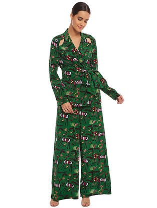 Basil Deer Forest Blazer with Palazzo (Set of 2)